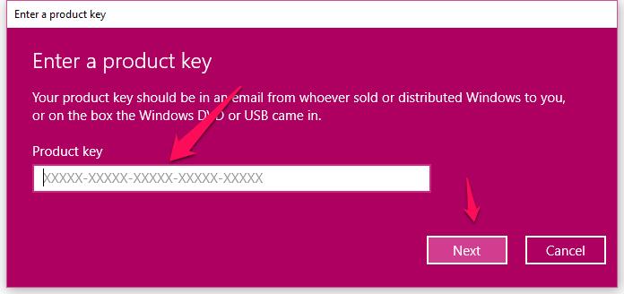 ventana emergente para Windows10-key-product