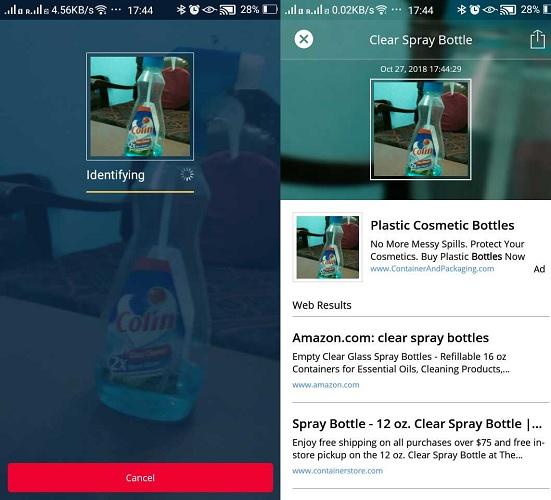 Búsqueda de imágenes visuales para identificar el objeto con Camfinder