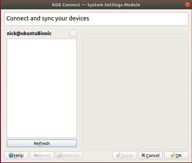 Configuración de Ubuntu de KDE Connect