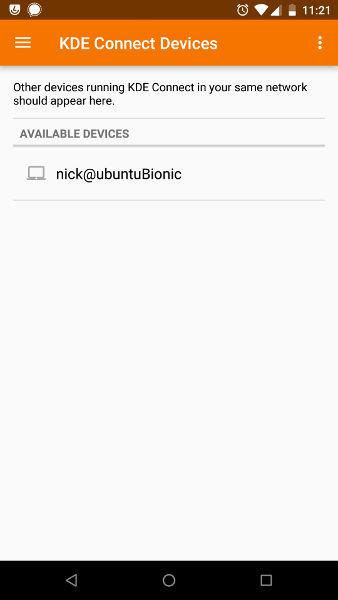 Se encontró el escritorio de KDE Connect