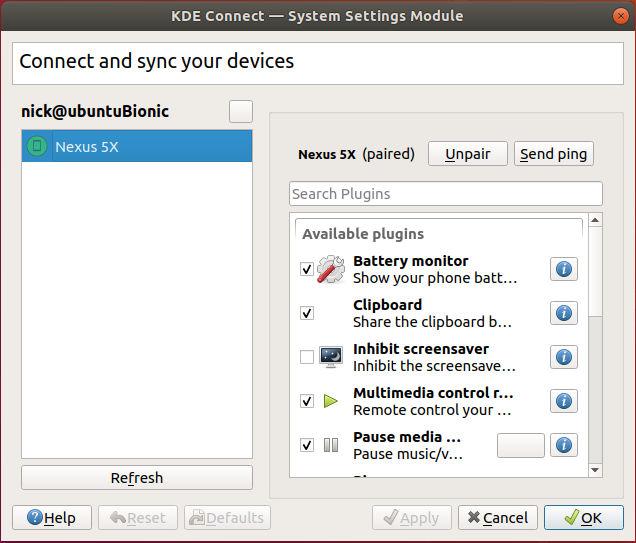 Configuración de escritorio de KDE Connect Ubuntu