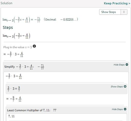 Symbolab limita el paso 2 de la ecuación