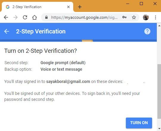 Pasos de verificación en dos pasos en Google