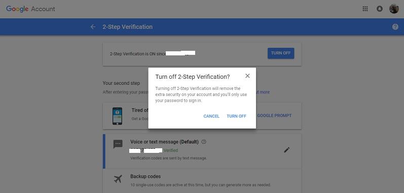 Desactivar la verificación en 2 pasos de Google