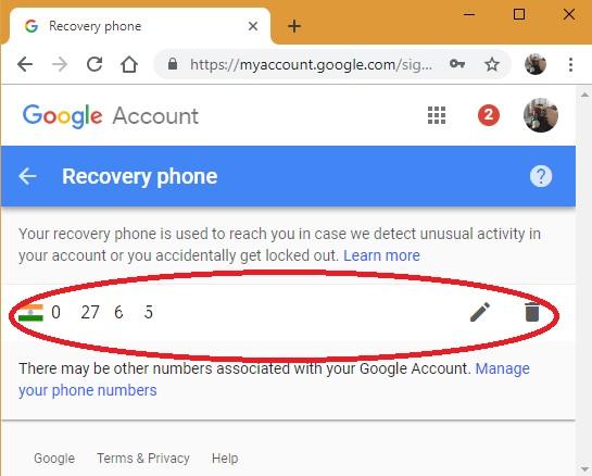 Quitar el teléfono de recuperación de Google