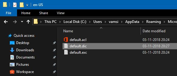 agregar palabras al diccionario-wind10-open-default-file