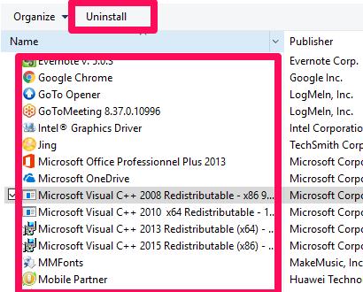 Aplicación de Windows 10: programas y características