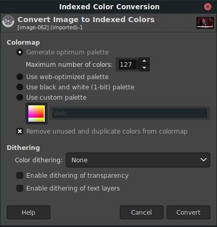 Convertir a colores de índice