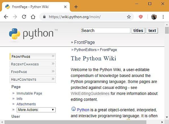 Página Wiki de Python.org