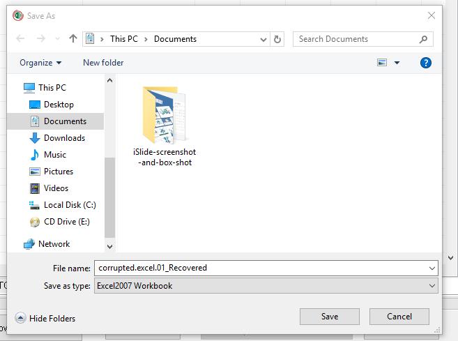 Caja de herramientas de recuperación para el archivo de recuperación de Excel