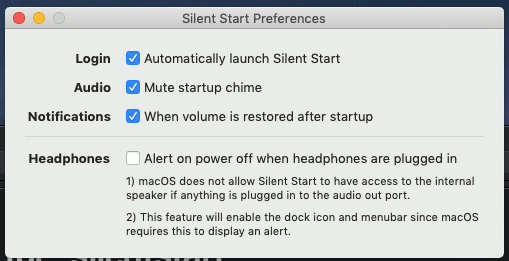 preferencias de arranque silencioso
