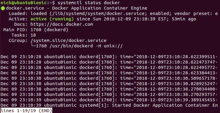 Docker en ejecución