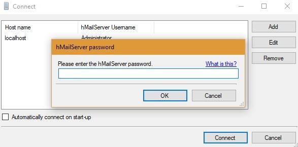 Inicie sesión en el administrador de hMailServer