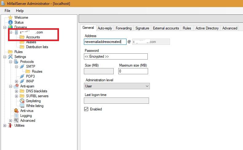 Nueva dirección de correo electrónico configurada con hMailServer