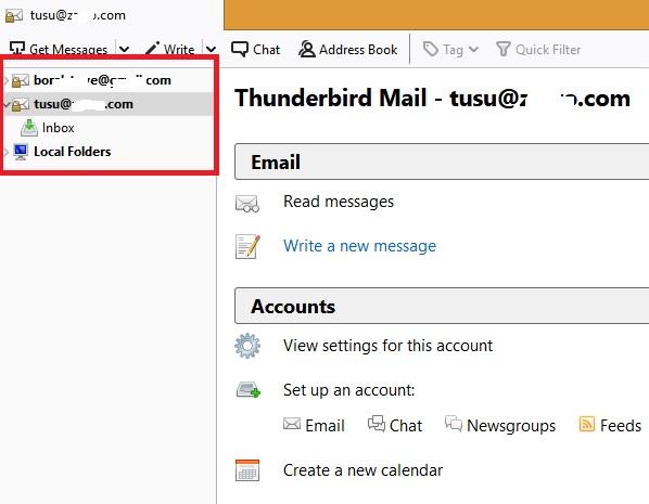 No más cuentas de correo electrónico Thunderbird
