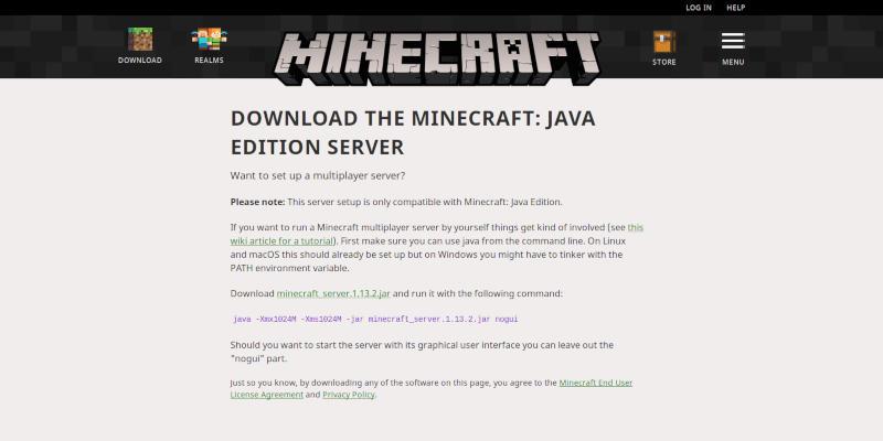 Página de descarga de Minecraft