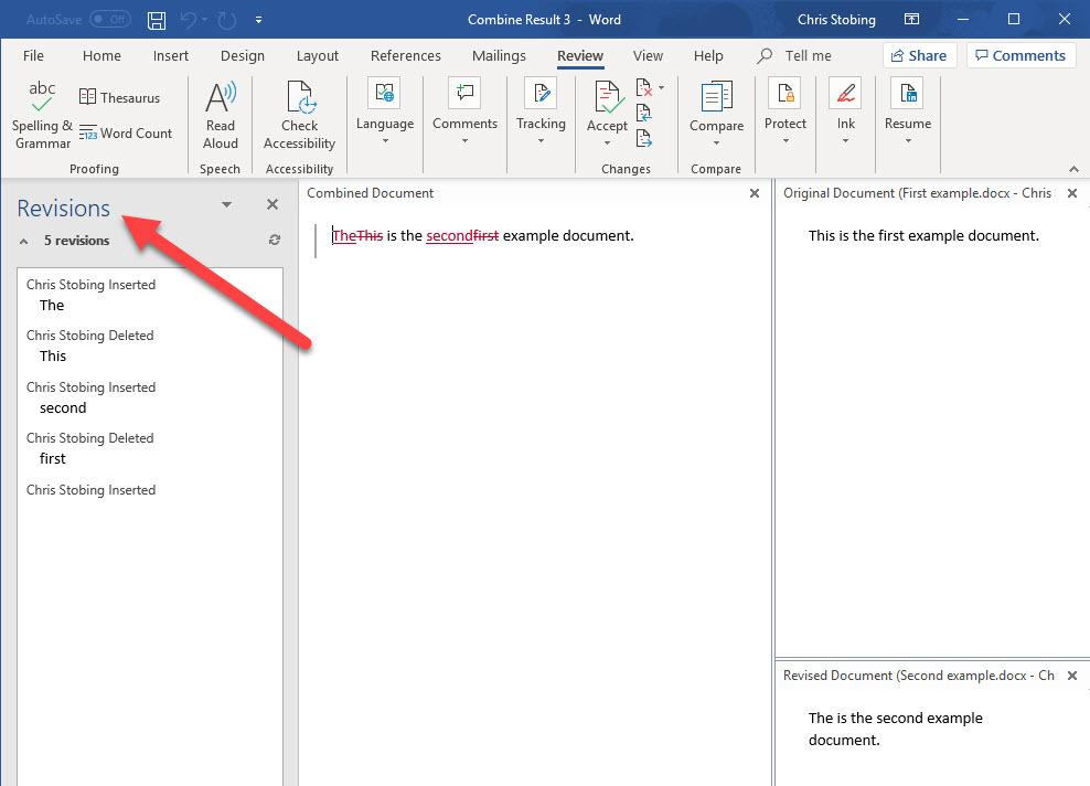 fusionar secciones de documentos de Word
