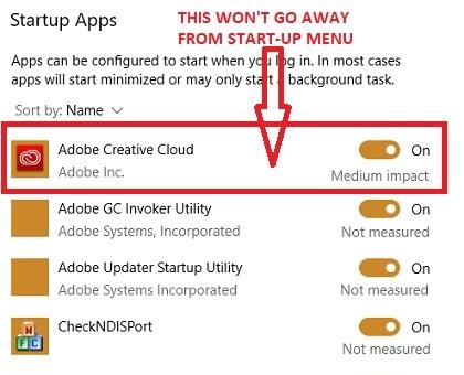 Adobe Creative Cloud desde el menú Inicio