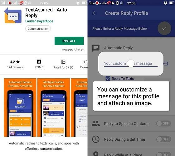 Capturas de pantalla de personalización de TextAssured Auto Answer