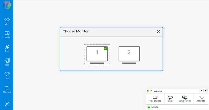 zoho-assist-review-navegación-multimonitor