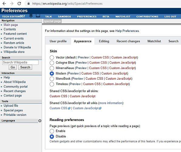 Actualizaciones a la página del usuario en las preferencias de cambio de apariencia