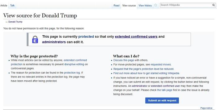 Página protegida en Wikipedia