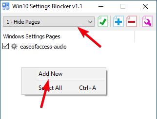 Ocultar la página de configuración 02 Seleccione Agregar nuevo