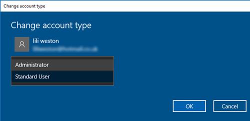La barra de tareas no funciona Windows 10 Tipo de cuenta