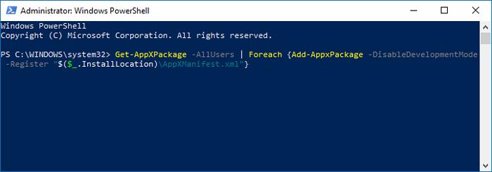 La barra de tareas no funciona Windows 10 Powershell