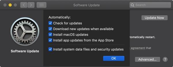 Opciones de actualización automática de Macos