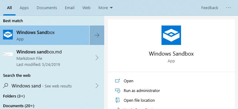 Windows        Buscar en el menú Inicio de Sandbox