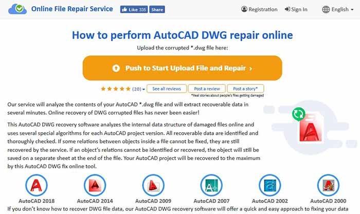 Pantalla principal del kit de herramientas de recuperación de Dwg en línea