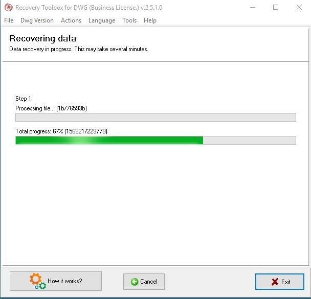 Recuperación de procesamiento de Dwg Toolbox
