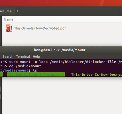 Cómo acceder a un Bitlocker cifrado Windows partición linux