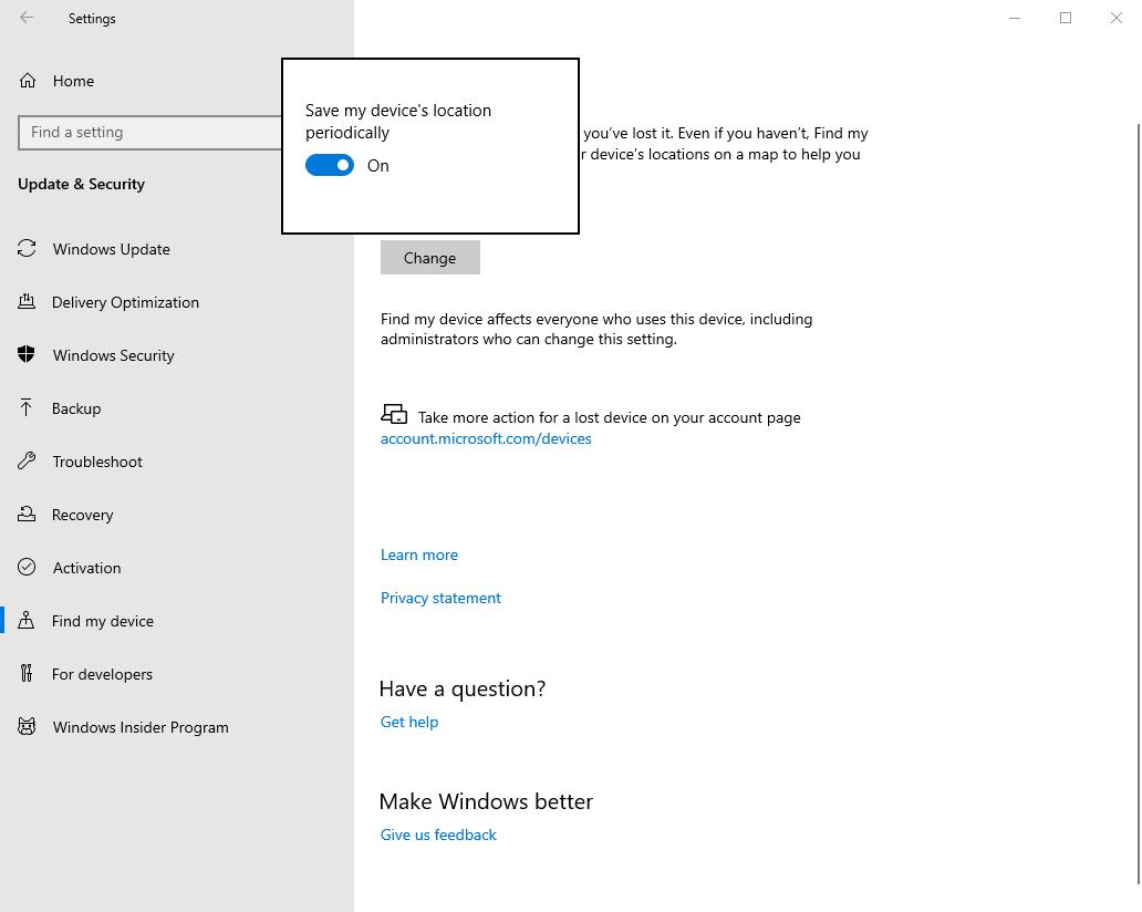 Opciones de Win10 Para administrar Activar Buscar mi dispositivo