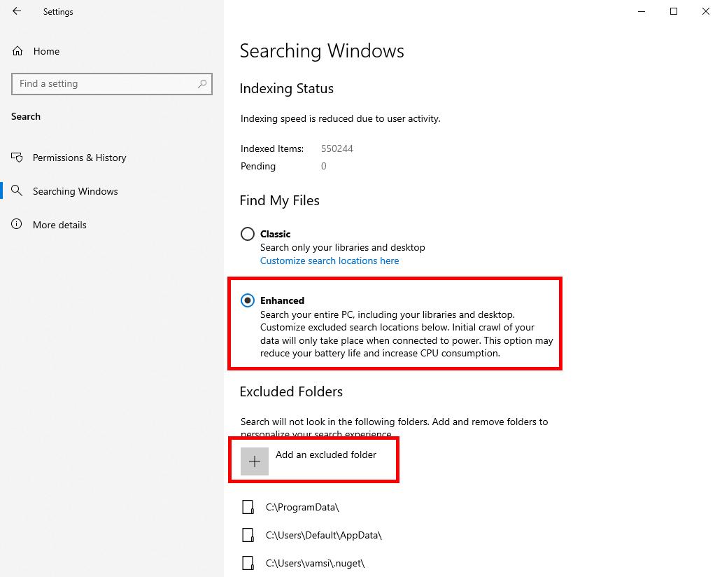 Opciones de Win10 Para administrar el modo mejorado