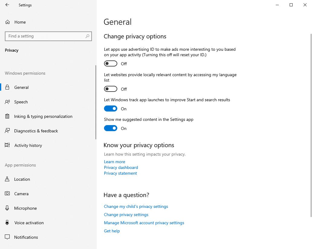 Opciones de Win10 Para administrar sus opciones de privacidad
