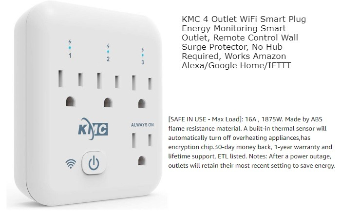 Enchufe inteligente wifi con cuatro enchufes Kmc
