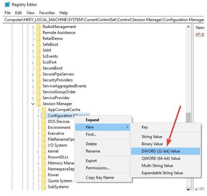 Restaurar la copia de seguridad del registro Windows 10 Regedit Registry Key Configuration Manager Nuevo Dword