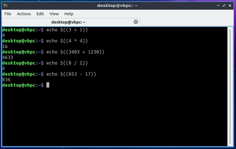Calculadoras de terminal Echo of Linux