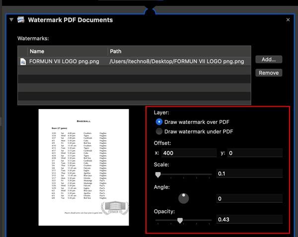 Opciones de marca de agua de acciones rápidas en PDF de marca de agua