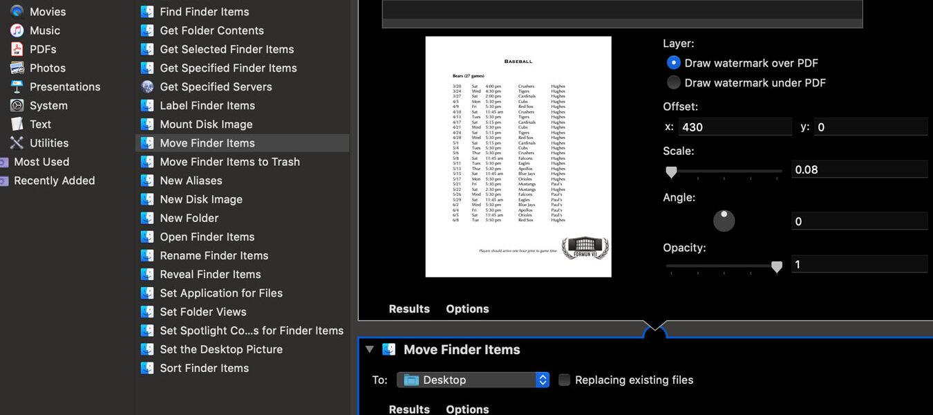 Cómo agregar marcas de agua a páginas PDF mediante acciones rápidas en macOS