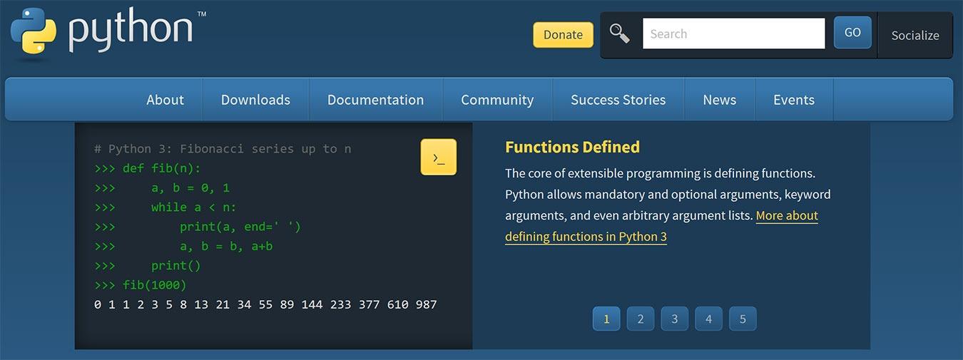 Sitio web de Golang Vs Python Python