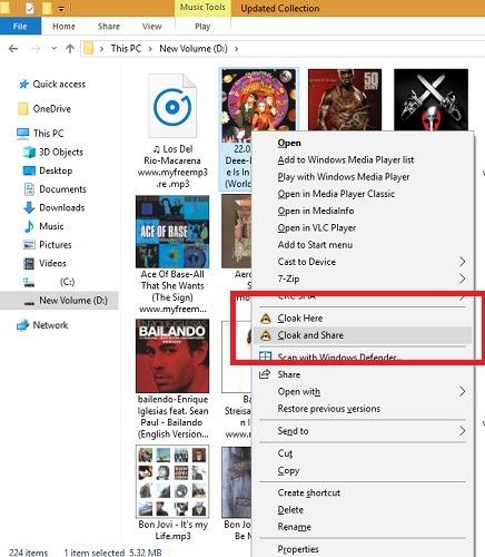 Cloak Sharing Haga clic con el botón derecho en los archivos