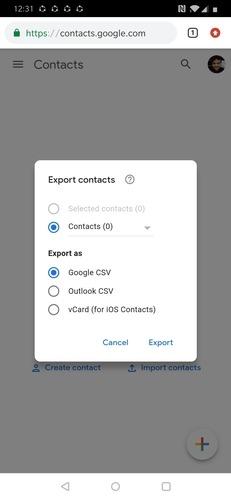 Contactos de exportación de Google