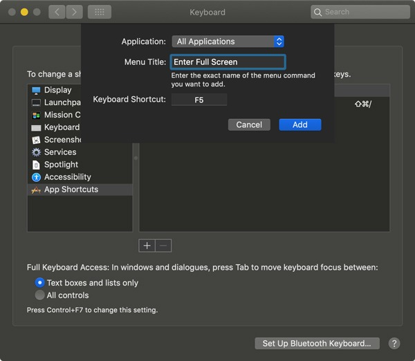Reasignar las teclas Fn de Mac Introduzca los detalles del acceso directo