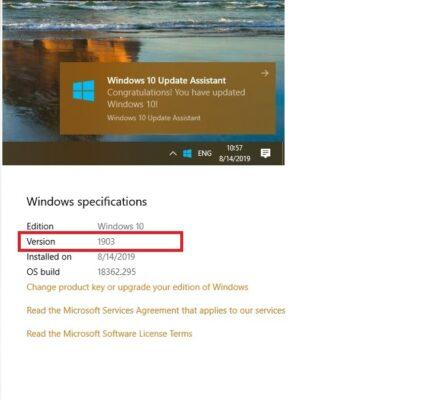 Como arreglarlo Windows 10 Versión 1903 No hay problema instalado
