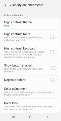 Android        Accesibilidad Fuentes de alto contraste Siguiente