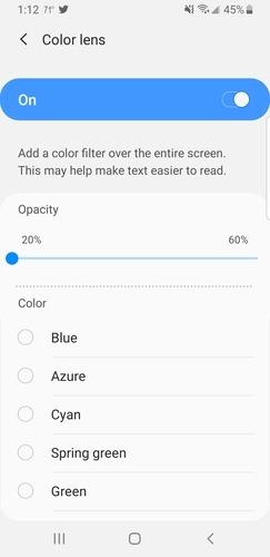 Android        Opciones de accesibilidad para gafas de colores