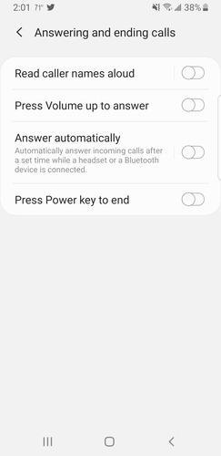 Android        Opciones de respuesta de llamadas de accesibilidad